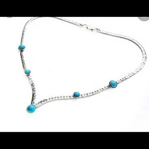 Vintage Silver and Faux turquoise Necklace.